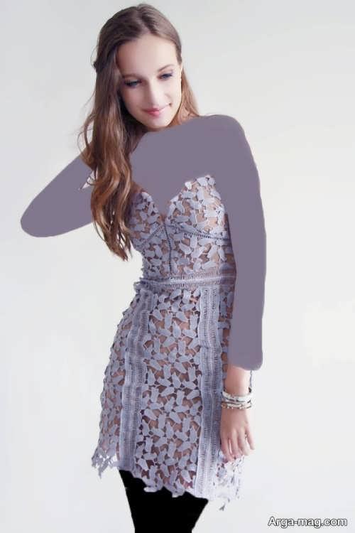 مدل لباس مجلسی شیک و بنفش گیپور