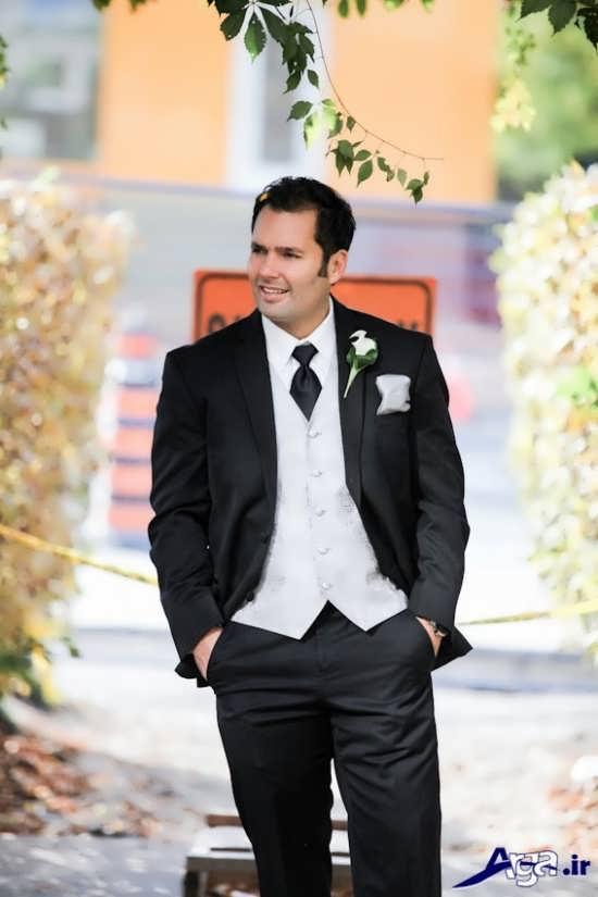 ژست متفاوت داماد برای گرفتن عکس عروسی
