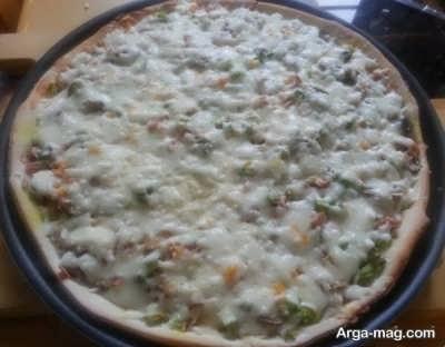 طرز تهیه پیتزا قارچ و مرغ