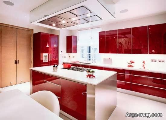 مدل زیبا و شیک کابینت هایگلاس برای آشپزخانه