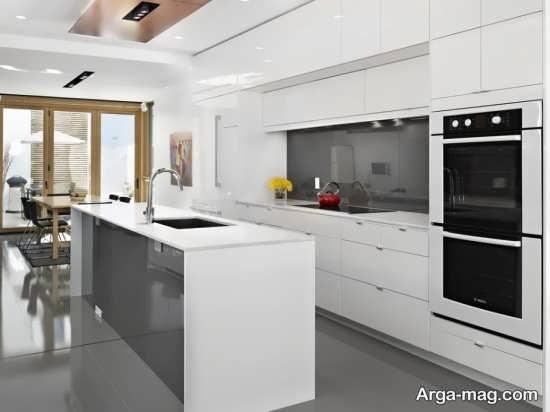 مدل کابینت سفید و خاکستری هایگلاس
