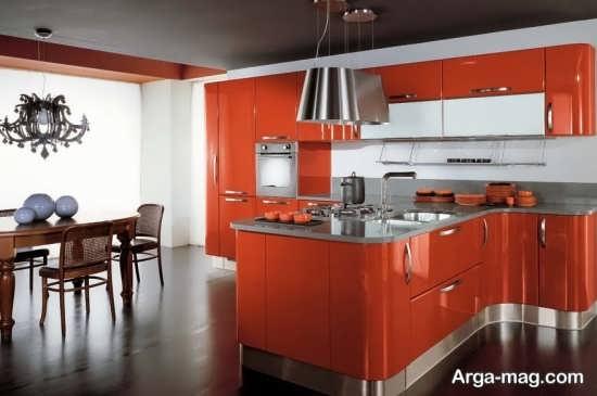 مدل کابینت نارنجی هایگلاس