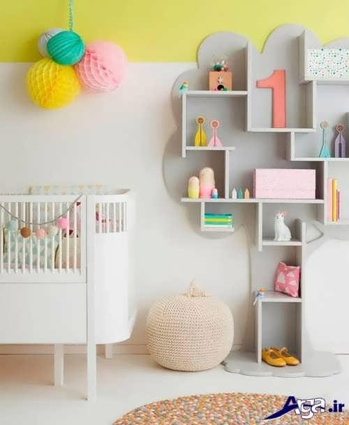 تزیین دیوار اتاق نوزاد با کمک شلف دیواری