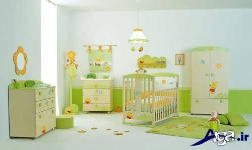 دکوراسیون سبز و شیک اتاق نوزاد