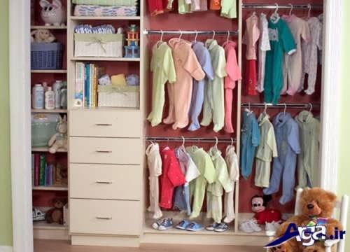چیدمان پوشاک و وسایل بهداشتی در کمد نوزاد
