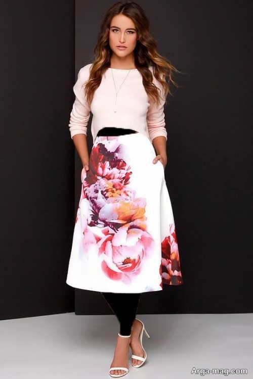 مدل دامن گلدار میدی