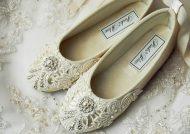 مدل کفش عروس بدون پاشنه کار شده و ساده