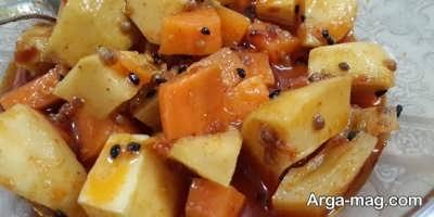 ترشی هویج و انبه با روغن زیتون