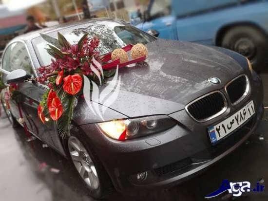 تزیین ماشین عروس ساده با طرح گل