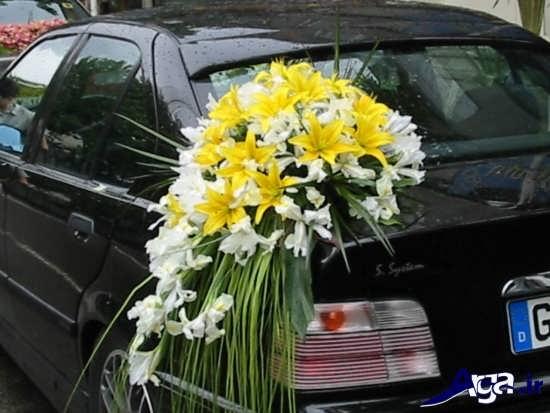 تزیین ماشین عروس ساده با گلهای مختلف