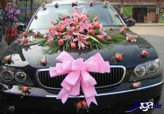 ایده تزیین ماشین عروس ساده با طرح گل و پاپیون