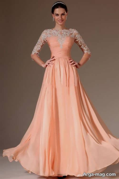 مدل زیبا و شیک لباس مجلسی کار شده آستین دار