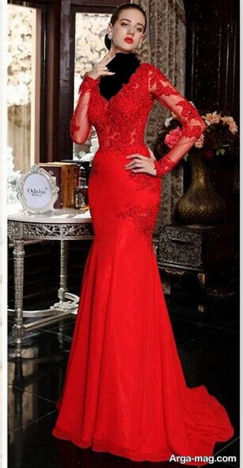 مدل لباس مجلسی کار شده با گیپور آستین دار