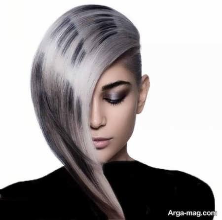رنگ موی زیبا و متفاوت دودی نقره ای