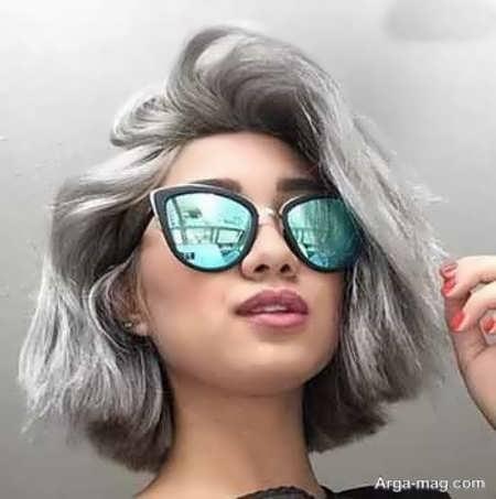 رنگ موی زیبا و شیک دودی نقره ای