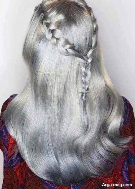 رنگ موی دخترانه دودی نقره ای