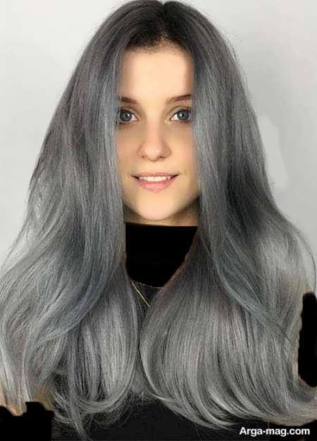 رنگ موی تیره دودی نقره ای
