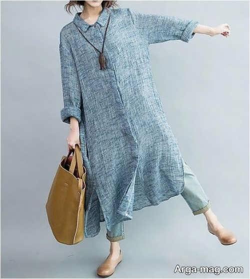 مدل مانتو بلند تابستانی در رنگ طوسی