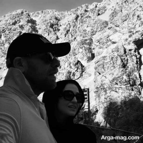 عکس گلاره عباسی و همسرش در کوه