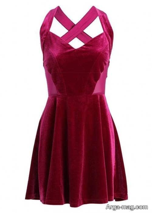 مدل لباس کوتاه مخمل و ساده