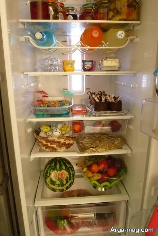 تزیین خوراکی های مختلف برای یخچال عروس