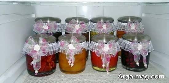 تزیین شیشه مربا برای یخچال عروس