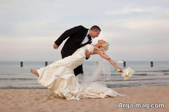 عکس عروس و داماد در ساحل