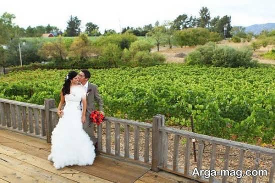 ژست عروس و داماد در فضای باز