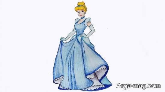 رنگ آمیزی کارتونی سیندرلا به رنگ آبی