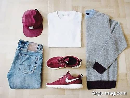 ست کلاه و کفش زرشکی مردانه