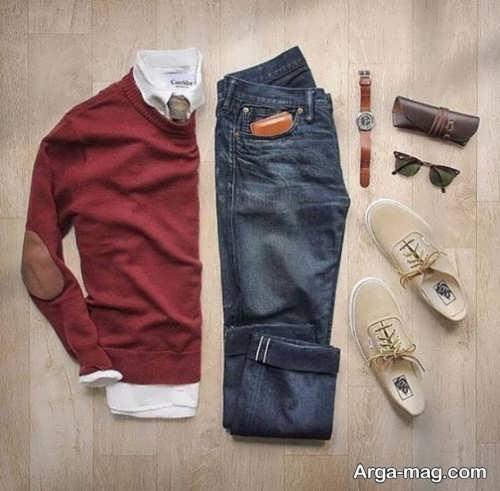 ست لباس زرشکی مردانه شیک