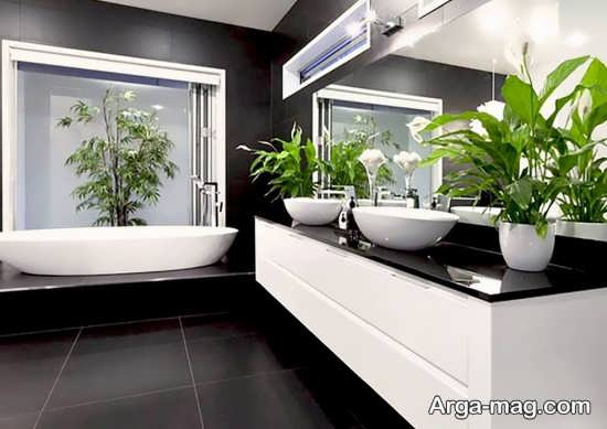 دیزاین سرویس بهداشتی با گل های زیبا