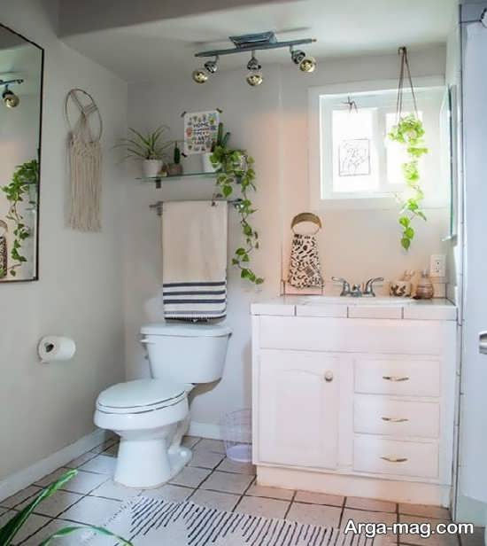 دیزاین سرویس بهداشتی با گل های طبیعی