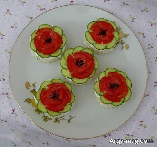 تزیین خیار و گوجه برای صبحانه
