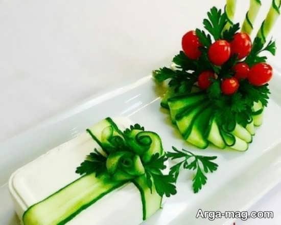 تزیین متفاوت و خلاقانه خیار گوجه و پنیر
