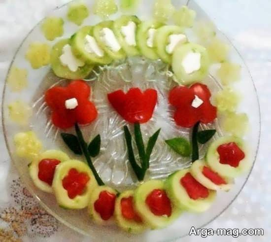 تزیین خیار و گوجه جالب