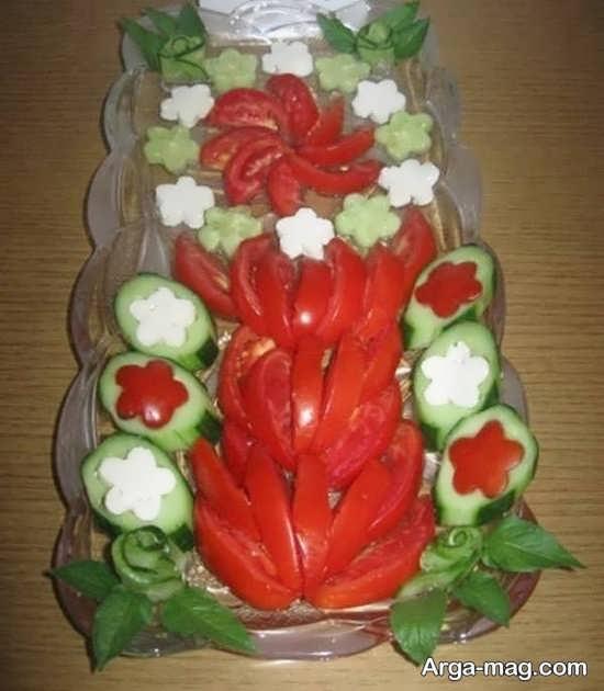 تزیین خیار و گوجه و پنیر با روش های جالب و شیک