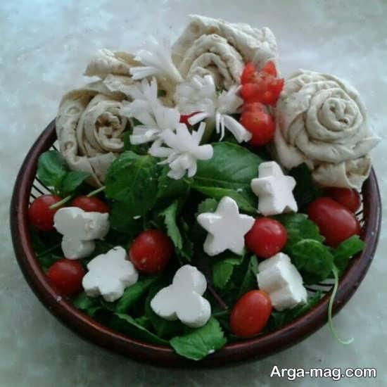 تزیین زیبا و فانتزی خیار و گوجه و پنیر