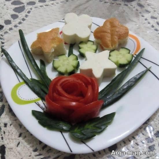 تزیین جالب و زیبا پنیر خیار و گوجه