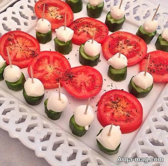 تزیین پنیر گوجه خیار