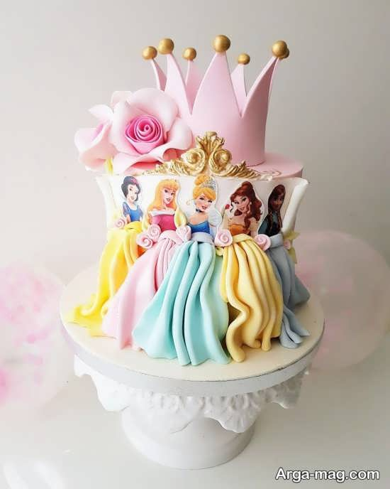 طراحی جالب کیک تولد پرنسس های دیزنی