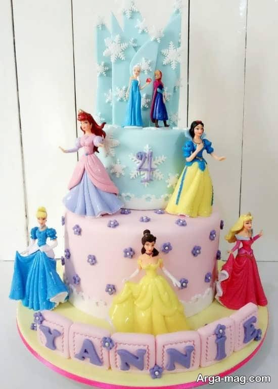 طراحی هنرمندانه کیک تولد پرنسس های دیزنی