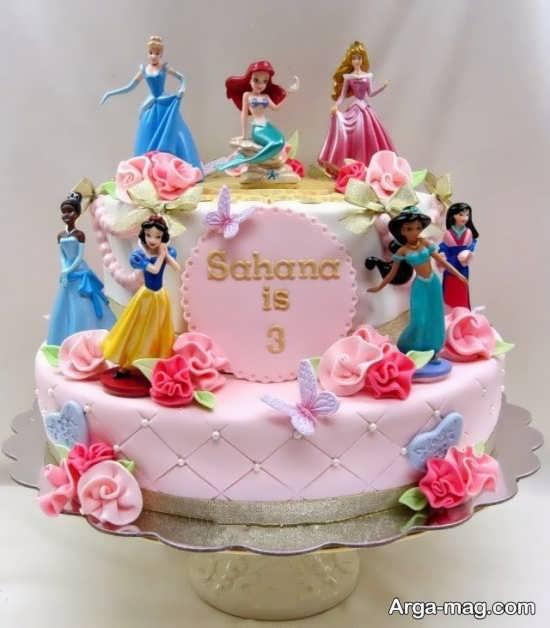 کیک تولد پرنسس های دیزنی با طرح به روز