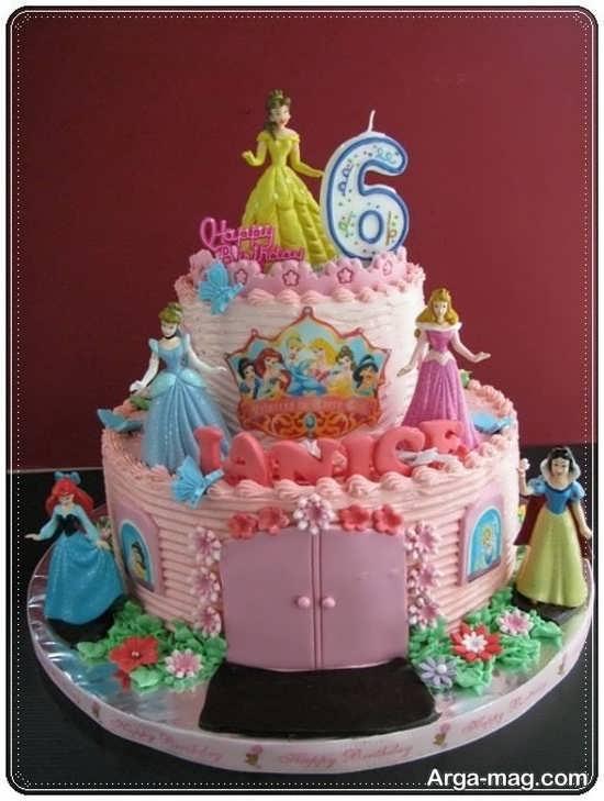 کیک تولد پرنسس های دیزنی با طرح خاص