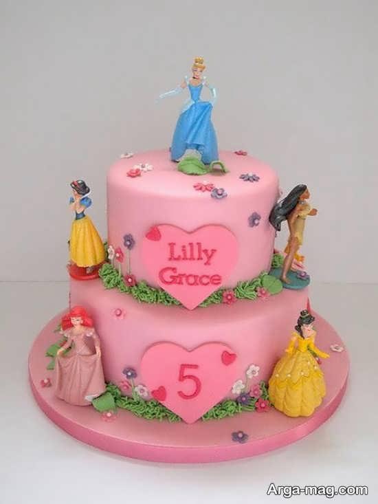 کیک تولد پرنسس های دیزنی با طرح باحال