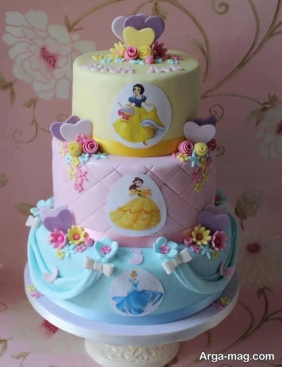 کیک تولد پرنسس های دیزنی با طرح ایده آل