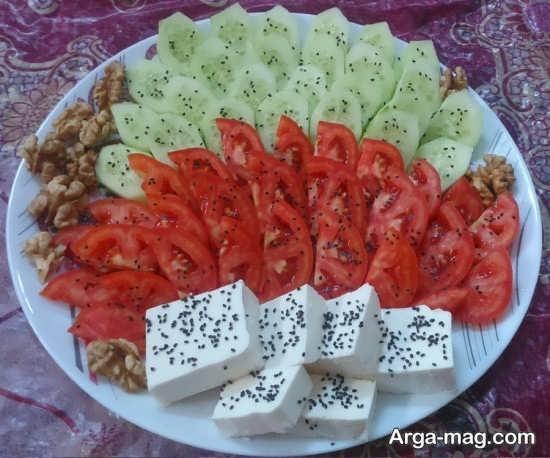 مدل تزییناتی از پنیر خیار گوجه