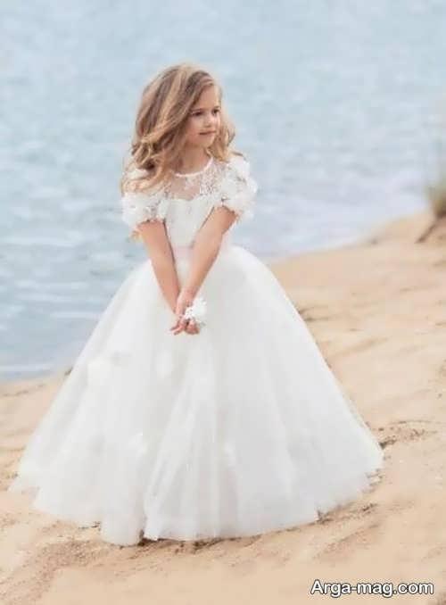 لباس عروس دخترانه پرنسسی سفید