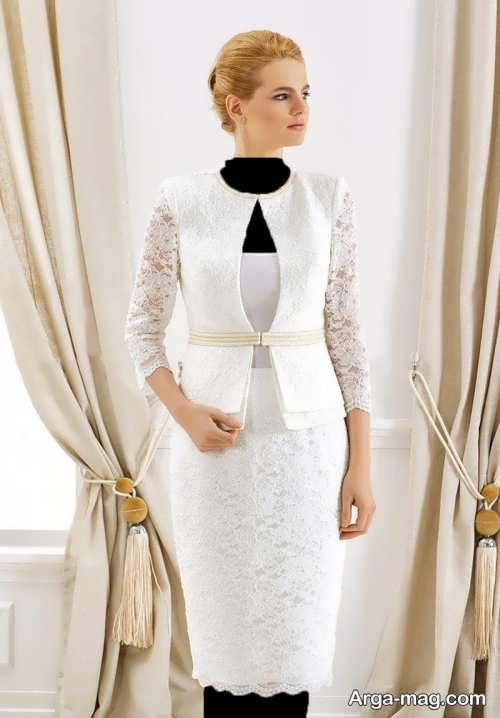 مدل کت و دامن سفید گیپور