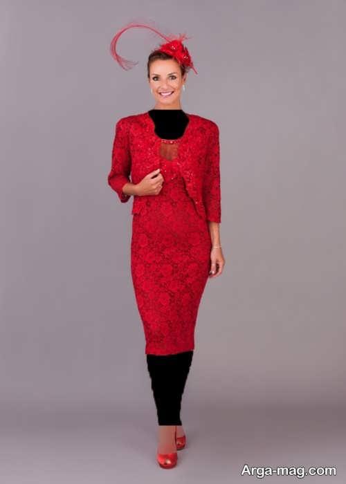 مدل کت و دامن قرمز گیپور